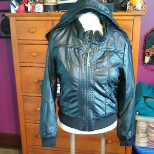 Fleece leather jacket